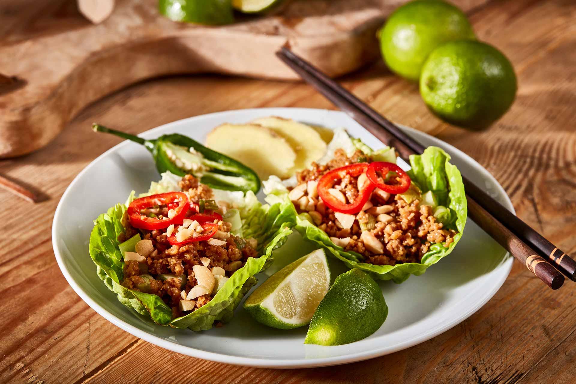 Simpleas vegan Asian lettuce cups